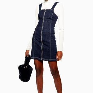 Topshop Stretch Denim Dress With Zip